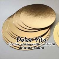 Подложка усиленная  односторонняя ламинация  золото/жемчуг Диаметр 300мм толщина 2,5 мм
